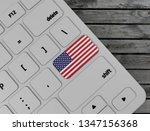 usa  flag enter key on white... | Shutterstock . vector #1347156368