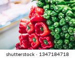 fresh peppers on a market stall | Shutterstock . vector #1347184718