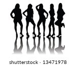 black and white silhouettes of... | Shutterstock .eps vector #13471978