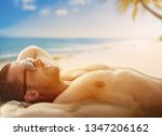 young muscular man on a... | Shutterstock . vector #1347206162