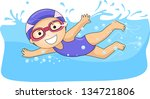 illustration of a swimming... | Shutterstock .eps vector #134721806