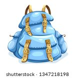 old backpack for hiking. travel ... | Shutterstock .eps vector #1347218198