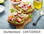 fresh avocado toast with... | Shutterstock . vector #1347224015