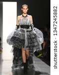 Small photo of NEW YORK, NY - FEBRUARY 08: Katia Andre walks the runway for Jeremy Scott during New York Fashion Week: The Shows at Spring Studios on Febraury 08, 2019 in New York City.