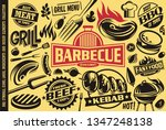 grill and barbecue symbols ... | Shutterstock .eps vector #1347248138