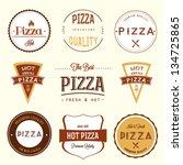 pizza labels set | Shutterstock .eps vector #134725865