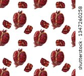 seamless pomegranate painting... | Shutterstock . vector #1347260258