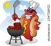 hot dog cartoon grilling on a...