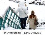 women descending overpass... | Shutterstock . vector #1347290288