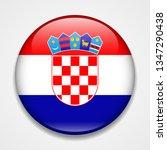 flag of croatia. round glossy... | Shutterstock . vector #1347290438