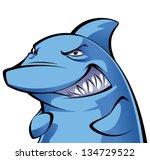 devious cartoon blue shark... | Shutterstock .eps vector #134729522