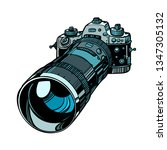camera with telephoto lens isolate on white background. Comic cartoon pop art vector retro vintage drawing