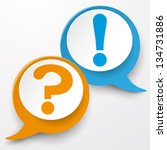 paper labels with question and... | Shutterstock .eps vector #134731886