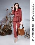 fashion beauty model curly dark ... | Shutterstock . vector #1347321182