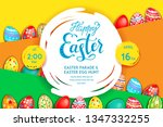 easter eggs bright yellow... | Shutterstock .eps vector #1347332255