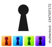 black keyhole icon on white... | Shutterstock .eps vector #1347337172
