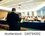 business man is making a speech ... | Shutterstock . vector #134734202