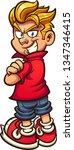 cool cartoon kid looking over... | Shutterstock .eps vector #1347346415