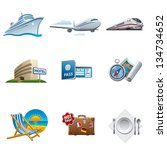 travel and tourism icon set | Shutterstock .eps vector #134734652