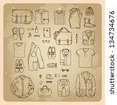 men's clothes sketches men... | Shutterstock . vector #134734676