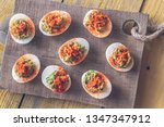guacamole and bacon deviled... | Shutterstock . vector #1347347912