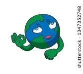 planet earth emoji. a cartoon... | Shutterstock .eps vector #1347352748