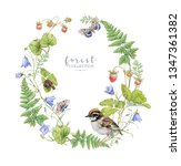 watercolor wreath with forest... | Shutterstock . vector #1347361382