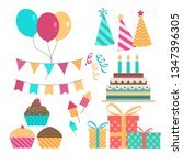 set of birthday party design... | Shutterstock .eps vector #1347396305