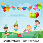 vector illustration of happy... | Shutterstock .eps vector #1347496865