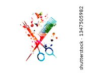 hairdressing tools background.... | Shutterstock .eps vector #1347505982