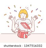 surprised young woman with open ... | Shutterstock .eps vector #1347516332