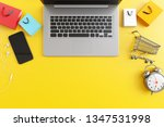 top view laptop with smartphone ... | Shutterstock . vector #1347531998