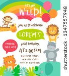 Stock vector cute safari cartoon animals border with cloud shaped copy space for kids party invitation card 1347557948