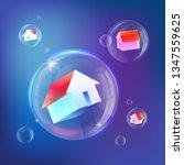 houses in soap bubbles vecor... | Shutterstock .eps vector #1347559625