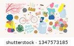 set of cute modern fashion... | Shutterstock .eps vector #1347573185