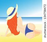 illustration of a girl lying on ...   Shutterstock .eps vector #134758472