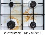 dirty plate with stains and... | Shutterstock . vector #1347587048