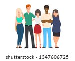 young friends from all around... | Shutterstock .eps vector #1347606725