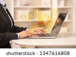 business woman working on...   Shutterstock . vector #1347616808