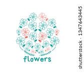 pretty flower circle ornaments. ... | Shutterstock .eps vector #1347643445