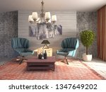 interior with chair. 3d... | Shutterstock . vector #1347649202