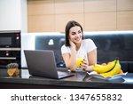 beautiful woman relaxing with... | Shutterstock . vector #1347655832