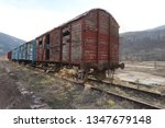 abandoned old railway wagons at ... | Shutterstock . vector #1347679148
