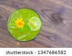 matcha green tea has a thin... | Shutterstock . vector #1347686582