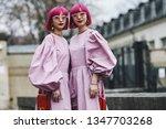 Small photo of Paris, France - March 03, 2019: Street style outfit - Ami Suzuki, Aya Suzuki after a fashion show during Paris Fashion Week - PFWFW19