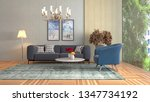 interior of the living room. 3d ... | Shutterstock . vector #1347734192