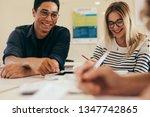group of students doing school... | Shutterstock . vector #1347742865