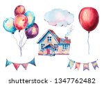 watercolor set of fantasy house ... | Shutterstock . vector #1347762482