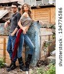 attractive fashionable couple... | Shutterstock . vector #134776586