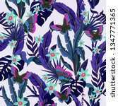 seamless pattern with tropical... | Shutterstock .eps vector #1347771365